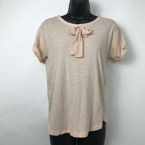J.CREW  T-Shirt Beige Heathered Bow Detail Sz XS